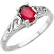 14K White Gold January Youth Imitation Birthstone Ring