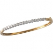14K Yellow White Gold 2 Two Tone Diamond Bangle Bracelet  Diamond quality AA (I1 clarity G-I color)