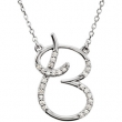 Sterling Silver B Diamond Necklace