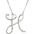 Sterling Silver H Diamond Necklace