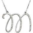 Sterling Silver M Diamond Necklace