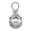 14K White Gold Near Round Tahitian Pearl Pendant