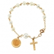 14K Yellow Gold First Holy Communion With Pearls Rosary Bracelet
