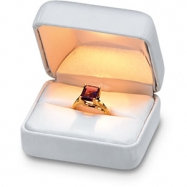 Picture of WHITE Leatherette Lighted Ring Box
