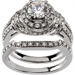 14K White Gold Semi 1ct Rd Bridal Engagement Set  Diamond quality A4 (SISI2 clarity G-I color)