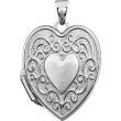 14kt White 20.60X17.00 mm Polished Heart Shaped Locket