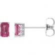 14kt White Complete with Stone Pink Tourmaline 05.00X03.00 mm Pair Polished Pink Tourmaline Earrings With Backs