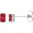 14kt White Complete with Stone Chatham Created Ruby 05.00X03.00 mm Pair Polished Chatham Created Ruby Earrings With Backs