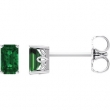 14kt White Complete with Stone Chatham Created Emerald 05.00X03.00 mm Pair Polished Chatham Created Emerald Earrings With Backs
