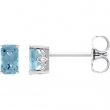 14kt White Complete with Stone Aquamarine 05.00X03.00 mm Pair Polished Aquamarine Earrings With Backs