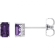 14kt White Complete with Stone Amethyst 05.00X03.00 mm Pair Polished Amethyst Earrings With Backs