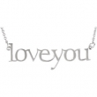14kt White Necklace Complete No Setting Polished Metal Fashion Love You Necklace