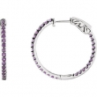 14kt White Amethyst Purple Pair Polished Inside-Outside Hoop Earrings