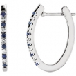 14kt White Sapphire-Diamond Yellow-White 1/5 Pair Polished Hoop Earrings
