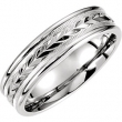 14kt White Band 10.50 06.00 MM Complete No Setting Polished COMFORT FIT FANCY BAND