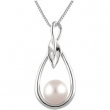 14kt White Pendant Complete with Stone Round 07.00 MM NONE Polished FRESHWATER CULTURED PEARL PEND