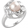 14kt White Complete with Stone Round 08.00 MM NONE NONE FRESHWATER CULTRD PEARL RING