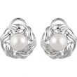 14kt White EARRING Complete with Stone NONE ROUND 08.00 MM PEARL Polished FRESHWATER CULTURED PEARL ER