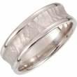 14kt White Band 10.00 07.50 MM Complete No Setting Polished FANCY CARVED BAND
