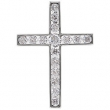 14kt White Pendant Complete with Stone NONE 01.70 AND 02.50 MM Polished DIA CROSS PENDANT