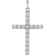 14kt White Pendant Complete with Stone 1 02.45 MM Polished DIAMOND CROSS PENDANT