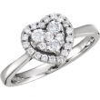 14kt White 3/8CTW Diamond Heart Ring