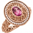 14kt Rose Ring Complete with Stone I1 Oval 07.00X05.00 MM Pink Tourmaline Polished PINK TOURMAL & 1/5CT DIA RING