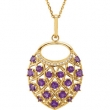 "14kt Yellow NECKLACE Complete with Stone ROUND VARIOUS AMETHYST Polished 18"" AMETHYST NECKLACE"