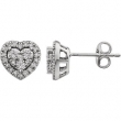 14kt White 3/8CTW Diamond Heart Earrings