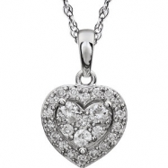 Picture of 14kt White 3/8CTW Diamond Heart Necklace