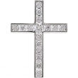 14kt White Pendant Complete with Stone NONE 03.30 AND 02.20 MM Polished DIA CROSS PENDANT
