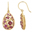 14kt Yellow EARRING Complete with Stone 35.60X16.10 MM PAIR VARIOUS VARIOUS RHODOLITE GARNET Polished GENUINE RHO GARNET EARRINGS