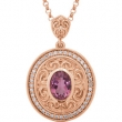 14kt Rose NECKLACE Complete with Stone I1 Oval 08.00X06.00 MM Pink Tourmaline Polished DIA 18INCH SCULPTURAL NECKLACE