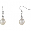 Sterling Silver EARRING Complete with Stone NONE NA 10.00-11.00 MM FRESHWATER CULTURED PEARL Polished FW CULTURED PEARL DROP EARRING