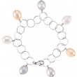 Sterling Silver BRACELET Complete with Stone 07.25 INCH NA 10.00- 11.00 MM FRESHWATER CULTURED PEARL Polished MULTI-COLORED PEARL BRC