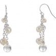 EARRING NONE VARIOUS VARIOUS VARIOUS NONE Complete with Stone Sterling Silver Polished FRSHWTR CUL PRL & CRYSTAL DR E