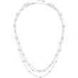 Sterling Silver NECKLACE Complete with Stone 17.00 INCH 04.00-04.50 MM PEARL Polished FRESHWATER PEARL 3 TIERED NCK