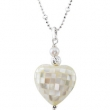 Sterling Silver NECKLACE Complete with Stone 18.00 INCH VARIOUS VARIOUS VARIOUS Polished NCK WITH MOTHER OF PRL HRT PEN
