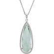Sterling Silver NECKLACE Complete with Stone PEAR 30.00X10.00 MM GREEN QUARTZ Polished 18 INCH NECKLACE
