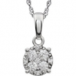 14kt White 1/5 Diamond Necklace