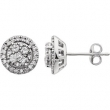 14kt White 1/2 CTW Diamond Earring With Backs