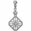 14kt White Pendant Complete with Stone ROUND 01.90 MM Diamond Polished .06CTW DIAMOND PENDANT