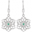 EARRING PAIR ROUND 01.60 MM EMERALD & DIAMOND NONE Complete with Stone Sterling Silver Polished .06 CTW DANGLE EARRINGS