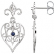 EARRING PAIR ROUND VARIOUS SAPPHIRE NONE Complete with Stone Sterling Silver & 14kt White Polished GEN SAPPHIRE & .04 CTW DIA EAR