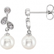 EARRING NONE Round NONE NONE Complete with Stone 14kt White Polished 1/6 CTW DIA & FRSHWTR CUL PRL