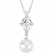 14kt White NECKLACE Complete with Stone 18.00 INCH ROUND 07.50 MM DROP Polished .01CTW DIA & FREWAT CULT PRL N