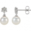 14kt White EARRINGS Complete with Stone NONE ROUND 07.00 MM PEARL Polished .08CTW FRWA CUL PRL & DIA EARR