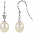 14kt White EARRINGS Complete with Stone NONE DROP 06.50 MM PEARL Polished FRESHWATER CULT PRL EARRINGS