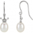 14kt White EARRING Complete with Stone NONE DROP 06.00 MM PEARL Polished .015CTW DIA AND FW PEARL ERS