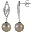EARRING NONE ROUND 09.00 MM PEARL NONE Complete with Stone 14kt White Polished 1/4 CTW DIA AND TAHITIAN PRL E